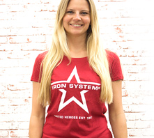 IRON SYSTEM® Basic Shirt Star, female, cranberry